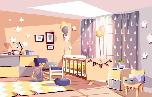 moderne pasgeboren jongen of kinderkamer interieur illustratie van slaapkamermeubilair gratis vector