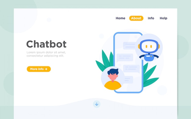 Moderne platte bestemmingspagina van chatbot Premium Vector