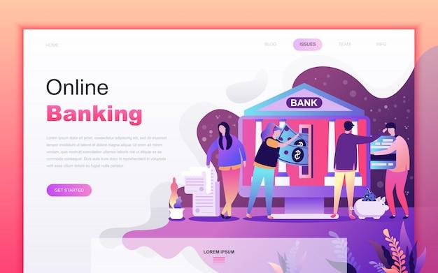 Moderne platte cartoon van online bankieren Premium Vector