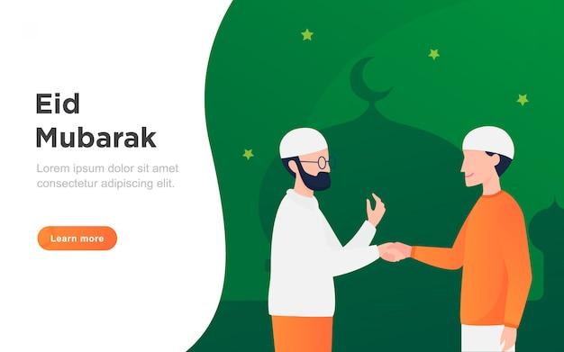 Moderne platte eid mubarak-bestemmingspagina Premium Vector