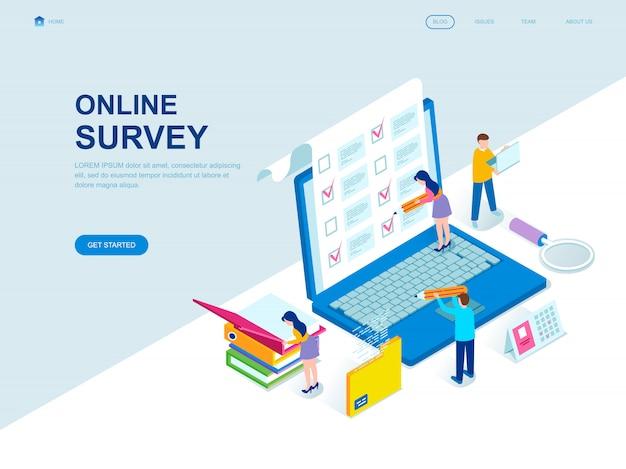 Moderne platte isometrische ontwerppagina van online survey Premium Vector