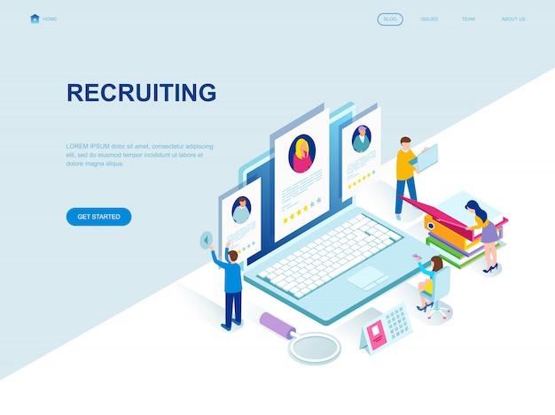 Moderne platte isometrische ontwerppagina van recruiting Premium Vector