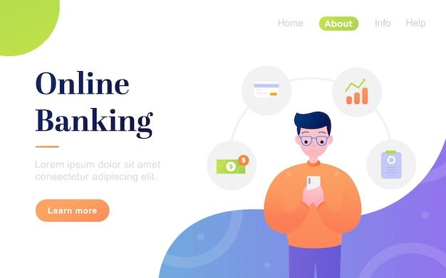 Moderne platte online bankieren bestemmingspagina sjabloon Premium Vector