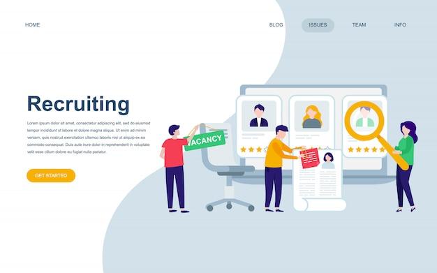 Moderne platte webpagina ontwerpsjabloon van aanwerving Premium Vector