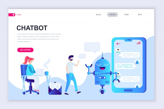 Moderne platte webpagina ontwerpsjabloon van chat bot Premium Vector