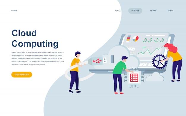 Moderne platte webpagina ontwerpsjabloon van cloud technology Premium Vector
