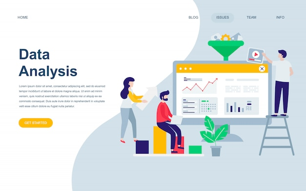 Moderne platte webpagina ontwerpsjabloon van data-analyse Premium Vector