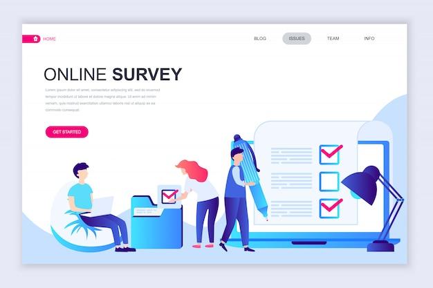 Moderne platte webpagina ontwerpsjabloon van online enquête Premium Vector