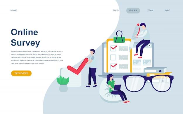 Moderne platte webpagina ontwerpsjabloon van online survey Premium Vector