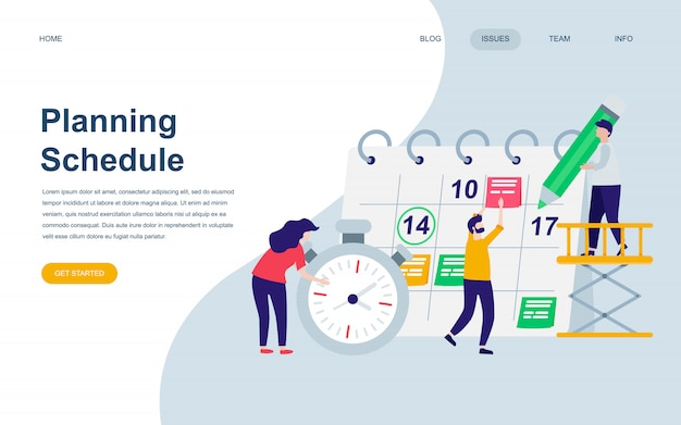 Moderne platte webpagina ontwerpsjabloon van planning Premium Vector