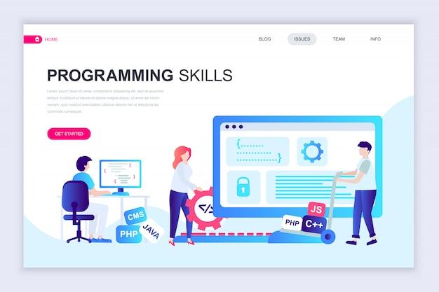 Moderne platte webpagina ontwerpsjabloon van programmeervaardigheden Premium Vector
