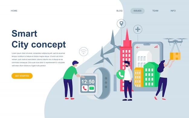 Moderne platte webpagina ontwerpsjabloon van smart city Premium Vector
