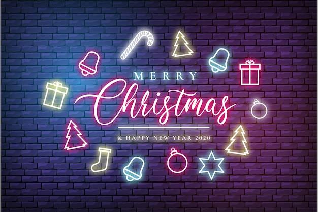 Moderne prettige kerstdagen en gelukkig nieuwjaar wenskaart met neonlichten Gratis Vector