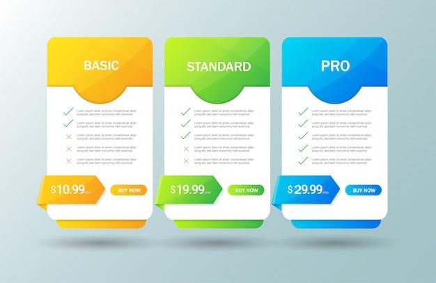 Moderne prijsstellingstabel template Premium Vector