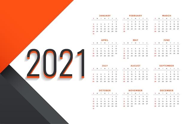 Moderne professionele 2021 zakelijke kalender ontwerpsjabloon Gratis Vector