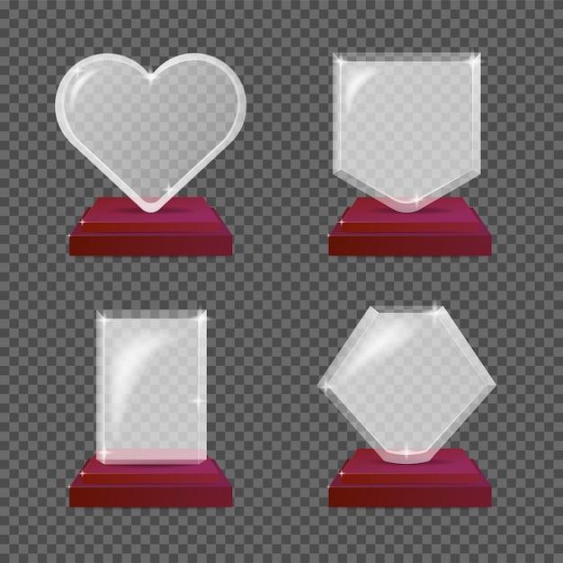 Moderne realistische glazen trofee-awards. illustratie geïsoleerd voor transparantie Premium Vector