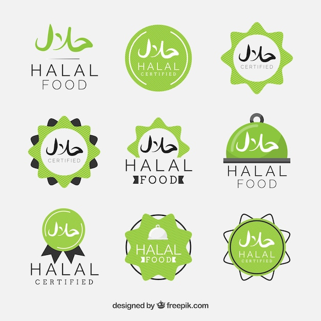 Moderne reeks halal voedseletiketten met vlak ontwerp Gratis Vector