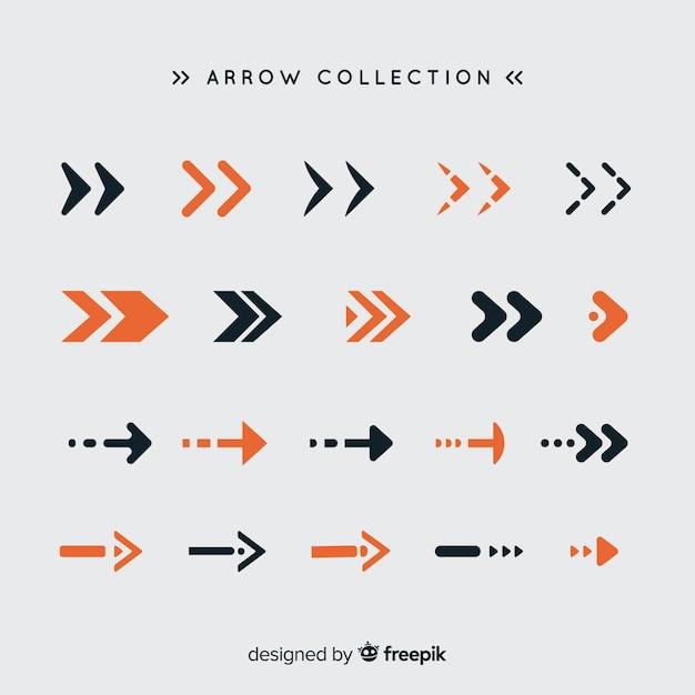 Moderne reeks kleurrijke pijlen met vlak ontwerp Gratis Vector