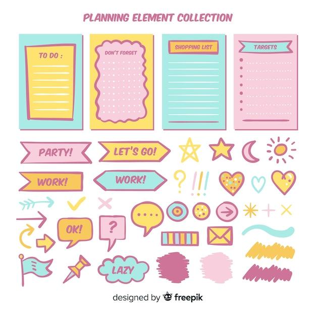 Moderne reeks kleurrijke planningselementen Gratis Vector