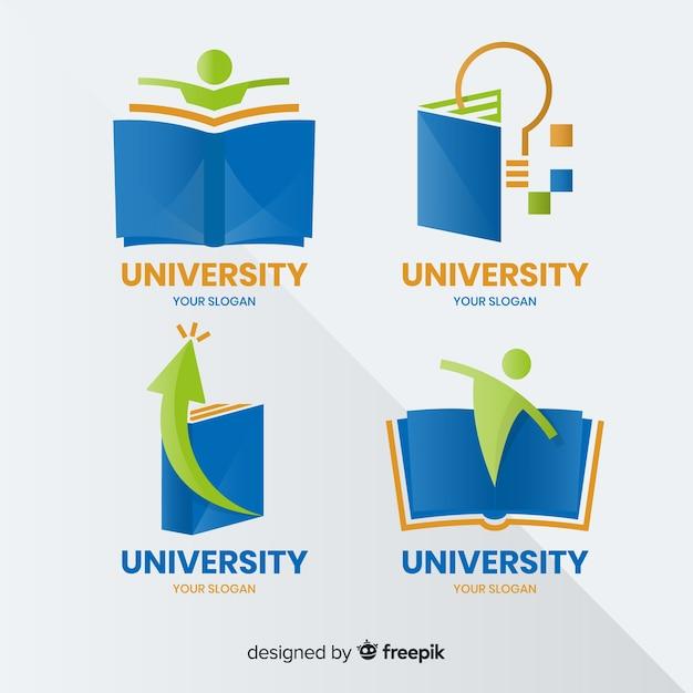 Moderne reeks universitaire emblemen met vlak ontwerp Gratis Vector