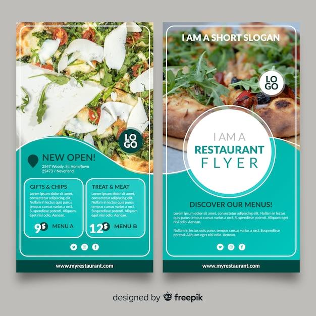 Moderne restaurant flyer sjabloon Gratis Vector