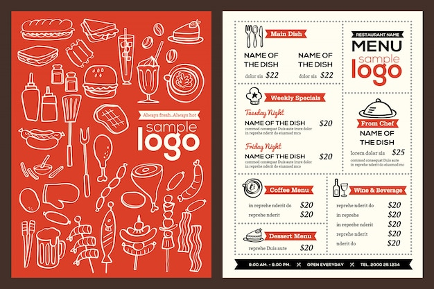 Moderne restaurant menu cover ontwerp pamflet vector sjabloon Premium Vector