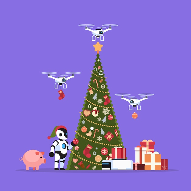 Moderne robot in kerstman hoed in de buurt van versierde dennenboom geschenkdoos drone bezorgservice vrolijk kerstfeest gelukkig nieuwjaar concept kunstmatige intelligentie plat Premium Vector
