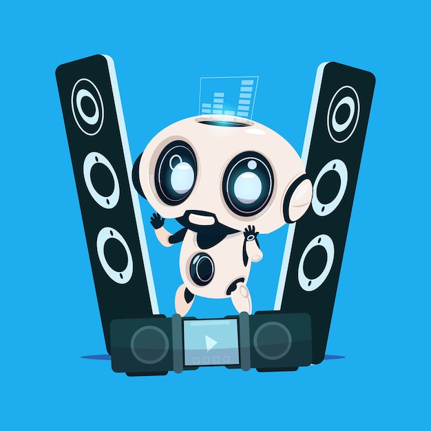 Moderne robot staande op audiosprekers op blauwe achtergrond cute cartoon character artificial intelligence Premium Vector