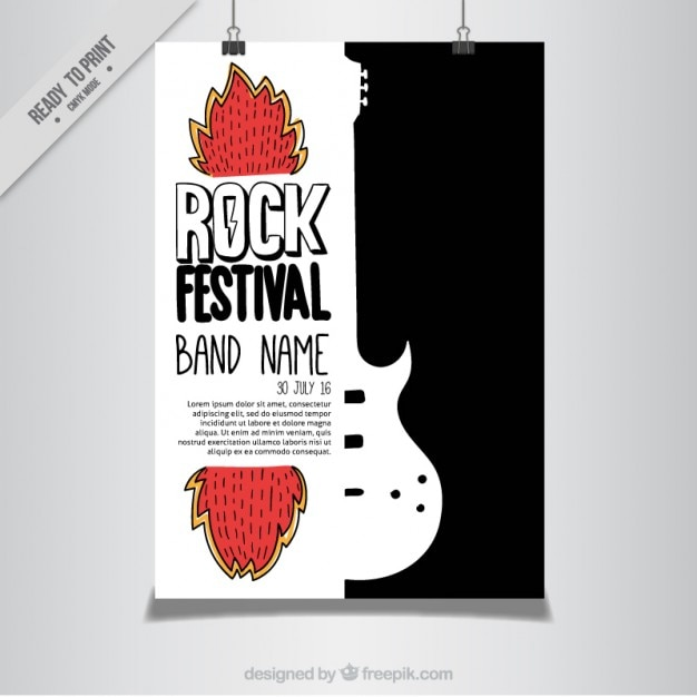 moderne rock festival poster vector gratis download. Black Bedroom Furniture Sets. Home Design Ideas
