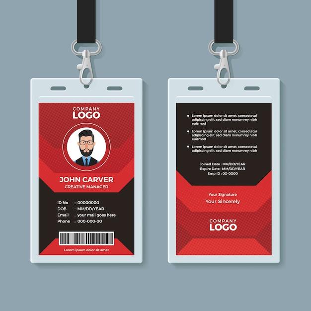 Moderne rode en zwarte identiteitskaart sjabloon Premium Vector