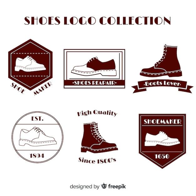 Moderne schoenen logo sjabloonverzameling Gratis Vector