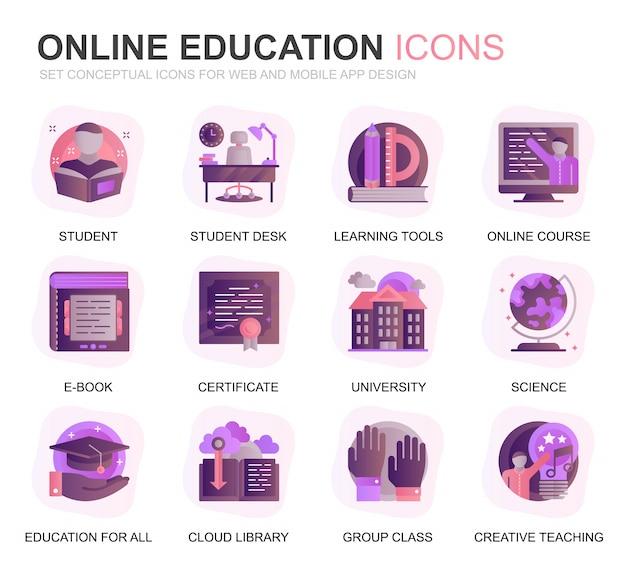 Moderne set onderwijs en kennis verloop plat pictogrammen Premium Vector