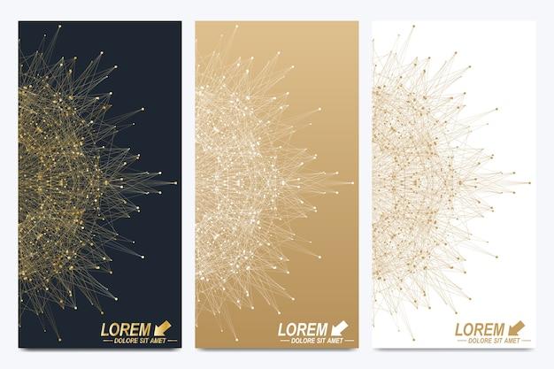 Moderne set van flyers. geometrische abstracte presentatie. Premium Vector