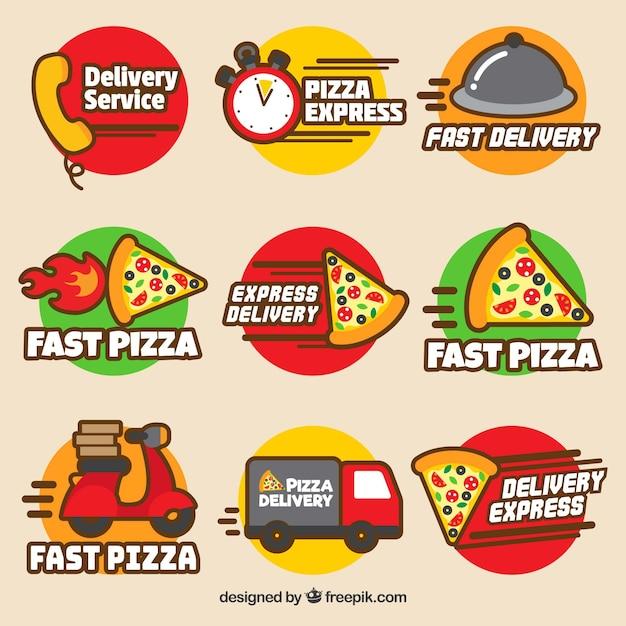 Moderne set van pizza-afleveringslabels Gratis Vector