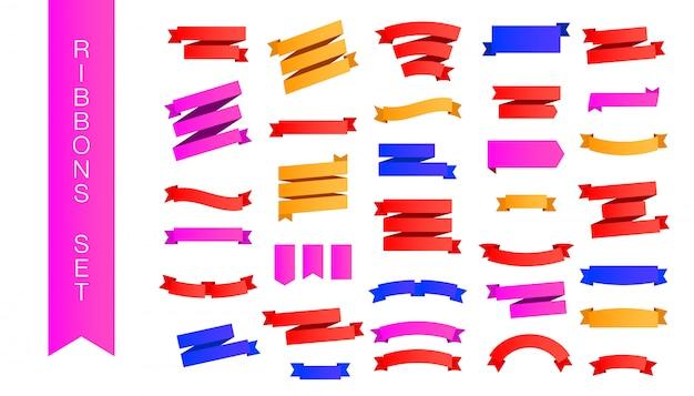 Moderne set veelkleurige gradiënt roze, rode en gele linten met verschillende vormen en schaduwen geïsoleerd Premium Vector