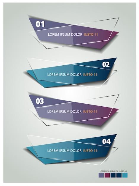 Moderne sjabloon banner infographics Premium Vector
