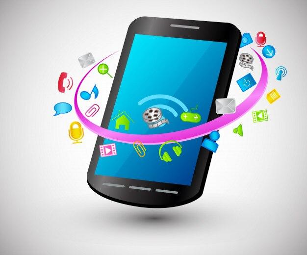 Moderne slimme telefoon met internet pictogrammen Premium Vector