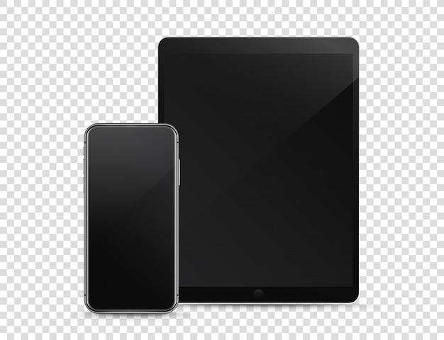 Moderne smartphone en tabletcomputer op transparante achtergrond Premium Vector