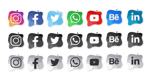 Moderne sociale media aquarel pictogrammen Gratis Vector
