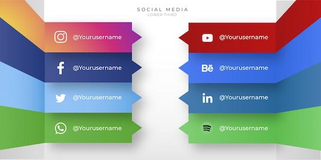 Moderne sociale media-iconen met lagere derde Gratis Vector