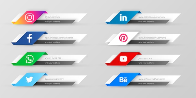 Moderne sociale media lagere derde verzameling Gratis Vector