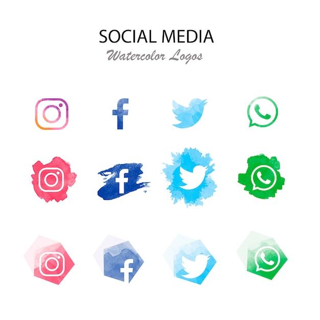 Moderne sociale media logotype collectie Gratis Vector