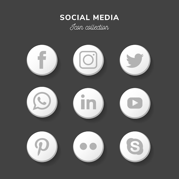 Moderne sociale media pictogrammenset in platte ontwerp Gratis Vector
