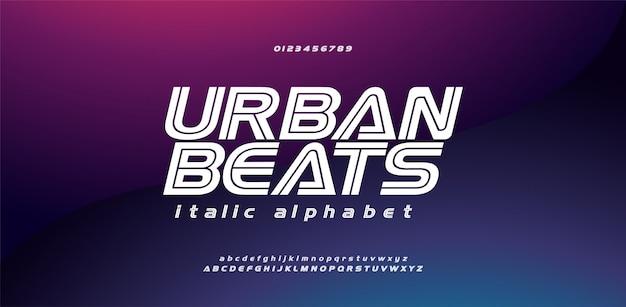 Moderne sport stedelijke cursief lettertype alfabet en nummer Premium Vector