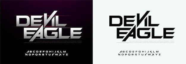Moderne sport typografie lettertypen technologie, digitaal Premium Vector