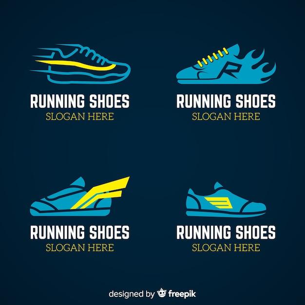 Moderne sportschoenen logo sjabloonverzameling Gratis Vector