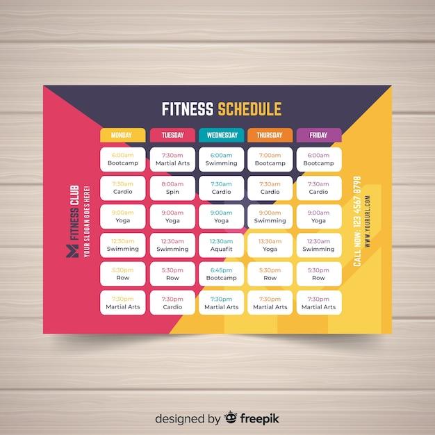 Moderne sportschool schema met platte ontwerp Gratis Vector
