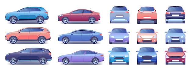 Moderne stadsauto's instellen afbeelding Premium Vector