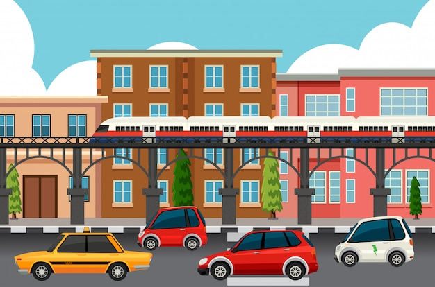 Moderne stadsvervoersystemen Gratis Vector