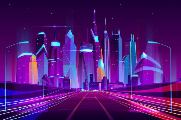 Moderne stadsweg in lantaarnpalen licht neon cartoon vectorillustratie Gratis Vector